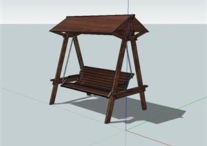 室外景观中式秋千座椅SU(草图大师)模型