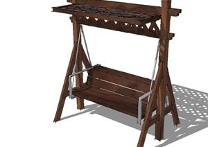 中式详细室外景观秋千座椅SU(草图大师)模型