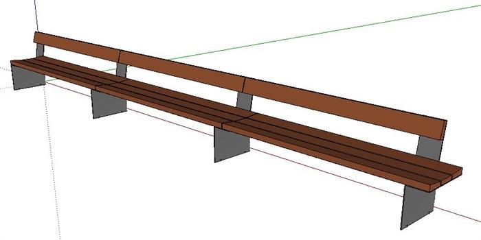 室外景观座椅长椅设计su模型素材[原创]