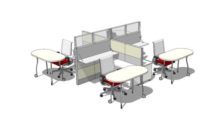 现代室内办公空间桌椅su模型[原创]