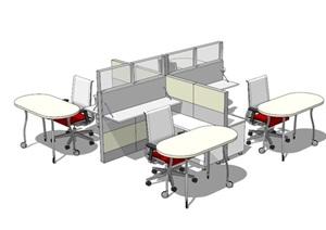 现代室内办公空间桌椅SU(草图大师)模型