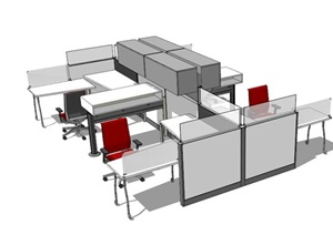 现代室内详细办公桌椅组合SU(草图大师)模型