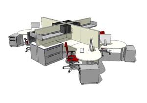 现代办公室内桌椅组合设计SU(草图大师)模型