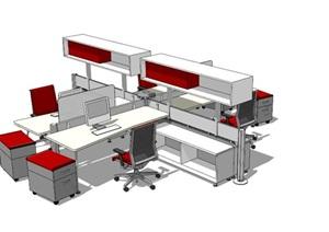 室内办公桌椅组合设计SU(草图大师)模型