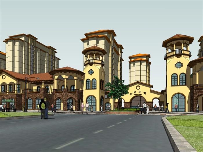 西班牙风格商业街建筑设计su细致模型