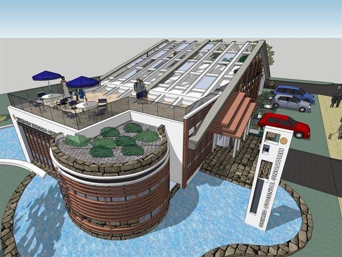 现代多层休闲会所建筑设计su细致模型