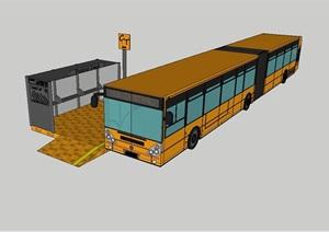 现代公交车及车站站台设计SU(草图大师)模型