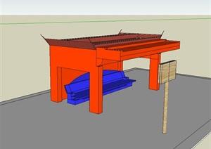 公交车站廊设计SU(草图大师)模型