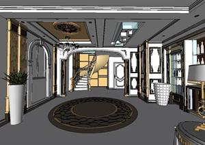 欧式别墅室内详细空间设计SU(草图大师)模型