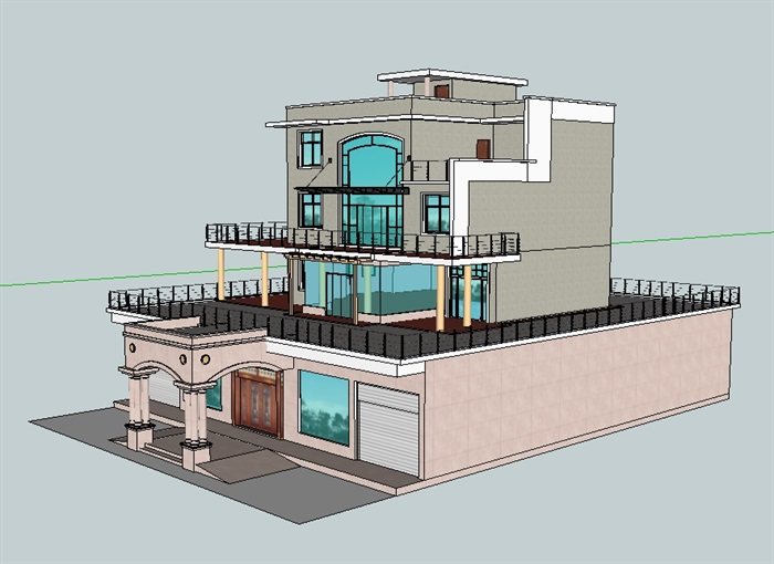 龙港农村屋顶别墅建筑设计su模型