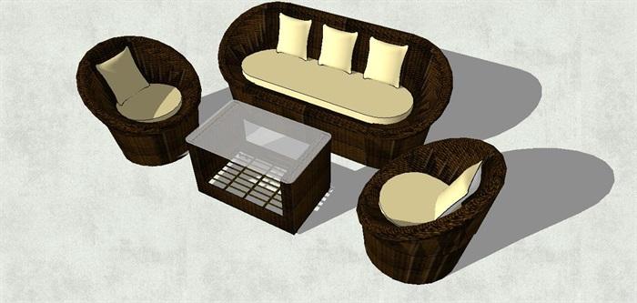 圆形休闲座椅su模型[原创]