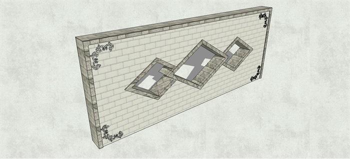 新中式菱形雕花景墙su模型[原创]