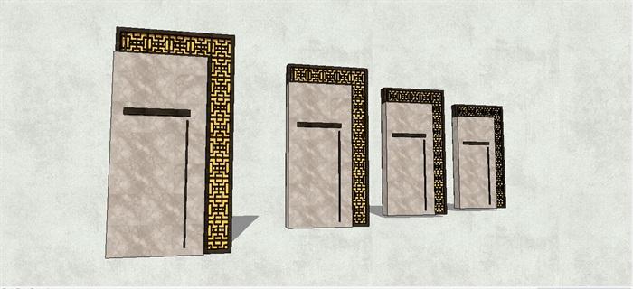 艺术雕花镂空景墙su模型[原创]