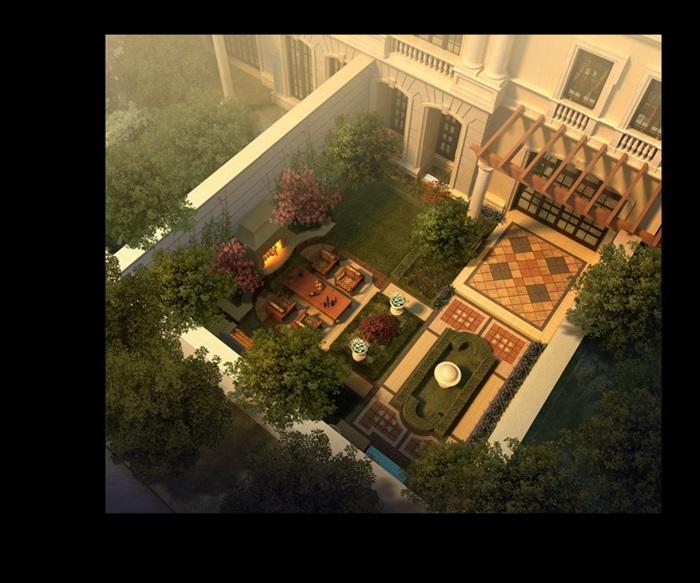 欧式别墅庭院景观设计鸟瞰图psd格式[原创]