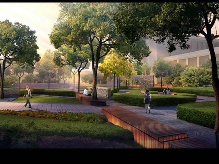 设计校园绿地学校规划校园景观学校景观 资料附件目录: 园林效果图psd