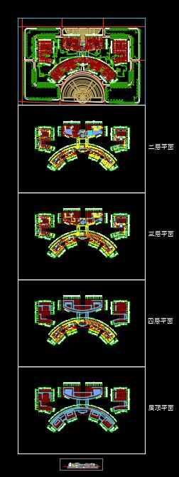 某行政中心建筑档案设计cad方案及效果图