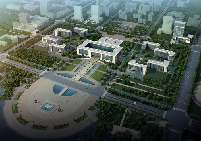 某行政办公中心建筑方案设计CAD施工图及效果图,总建筑面积约89000平方米,其中行政中心建筑面积53000平方米,各局建筑面积36000平方米。建筑立面形态现代大气而简洁,通过方正的形体、干净的线条和强烈的虚实对比形成建筑独特的形态特征和标志性。主楼立面形态简洁,强调大的尺度感,辅楼在与主楼协调的同时更注重小尺度构件的处理,更具亲和力。以安全,高效,便利,灵活为原则,合理组织人流车流。商务中心南面为礼仪入口,设有大台阶可直接进入中央大厅,车流也可通过龙须道直接到达入口,以保证使用者出入方便。北侧设有会
