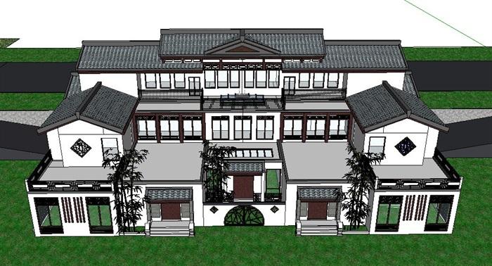 中式风格双拼别墅建筑su设计模型[原创]