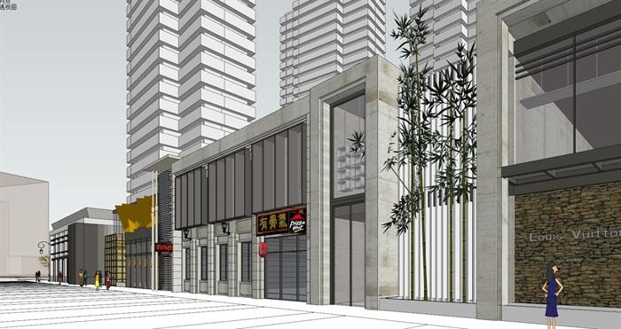 现代商业街单层建筑设计su模型[原创]