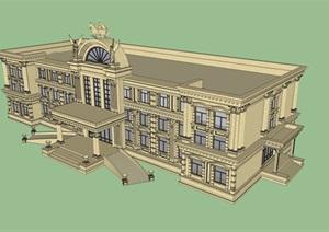 电视塔游客中心建筑设计SU(草图大师)模型