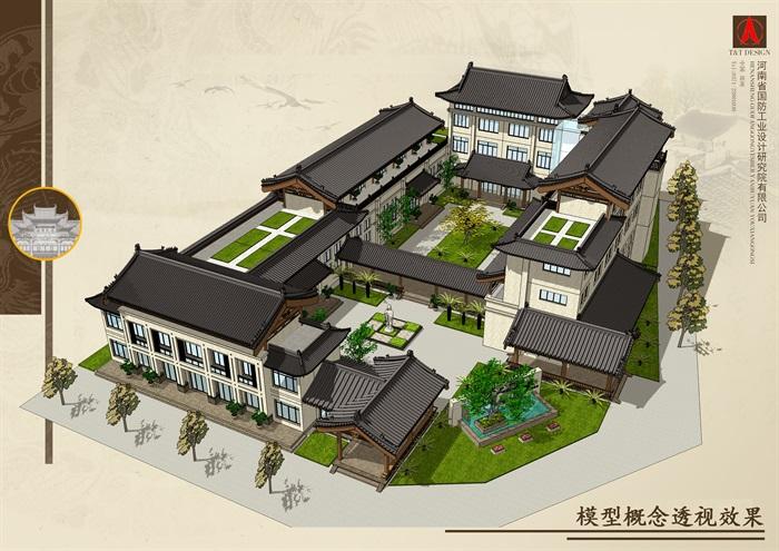 敦付书院详细建筑设计su模型
