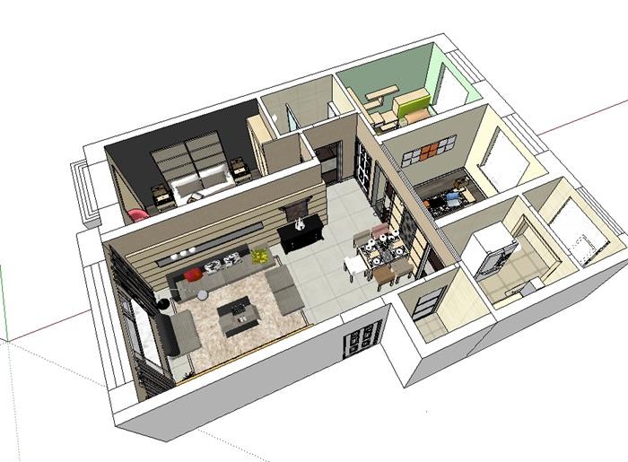 三室室内详细装饰空间设计su模型[原创]
