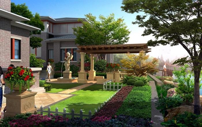 欧式别墅庭院设计_欧式别墅庭院园林设计效果图PSD分层[原创]