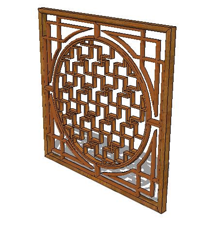 中式木质镂空窗设计su模型[原创]