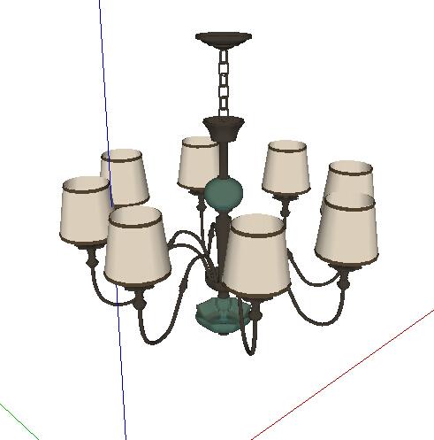 欧式风格客厅吊灯设计su模型[原创]