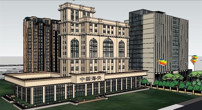 新古典风格办公及居住建筑设计su精品模型[原创]