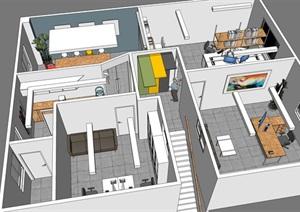 现代办公室SU(草图大师)模型