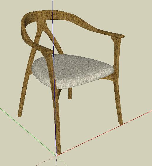 中式扶手椅子设计su模型[原创]