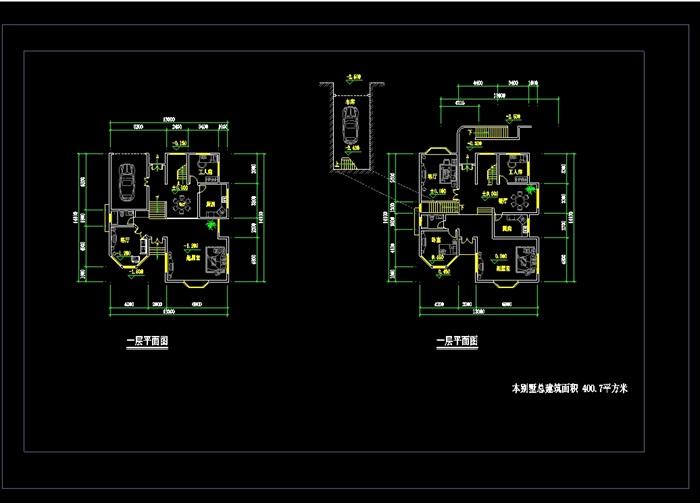 某两层别墅设计cad平面图