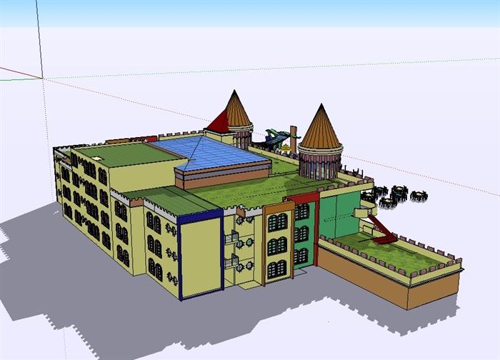 欧式详细的幼儿园建筑楼su模型[原创]