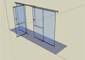 某现代详细玻璃门设计su模型