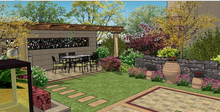 一套欧式风格景观庭院设计SU模型,有模型,有材质,有亭子,花瓶等各种小配件非常齐全,可以直接使用,有需要的亲,请直接下载哦!