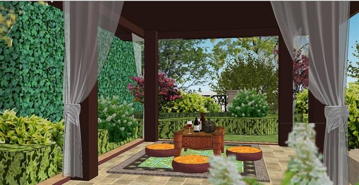 一套欧式风格景观庭院设计su模型[原创]