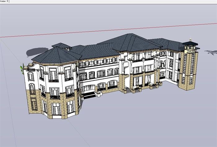 欧式详细完整的多层幼儿园建筑su模型[原创]