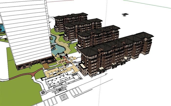 某新古典详细的多层住宅楼设计su模型[原创]