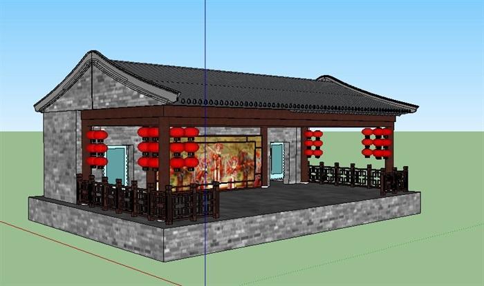 古建中式戏台设计su模型[原创]