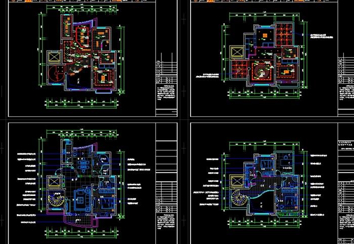 欧式复式室内装修设计cad施工图(含效果)(4)