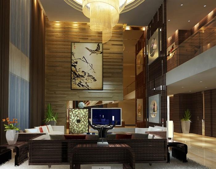 豪华别墅家装室内设计cad施工图效果图(2)