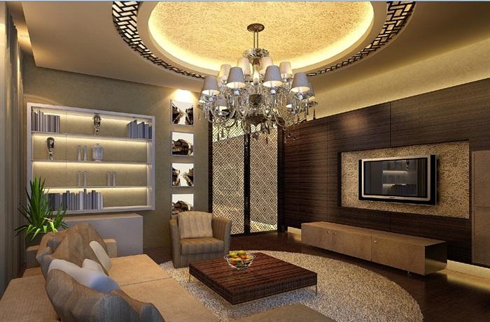 豪华别墅家装室内设计cad施工图效果图(3)