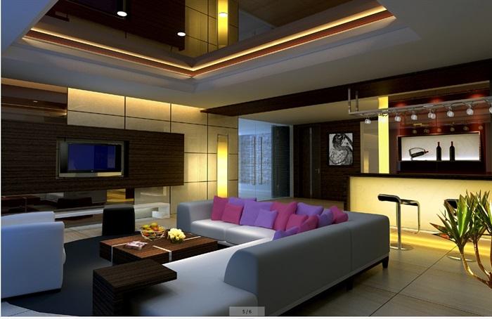 豪华别墅家装室内设计cad施工图效果图(5)
