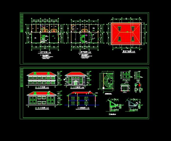 欧式图纸别墅建筑cad私宅[原创]图纸简单图裁剪图片
