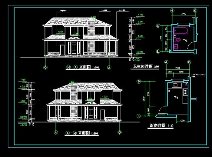 二层别墅全套设计cad施工图