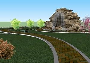 某景石水景设计SU(草图大师)模型