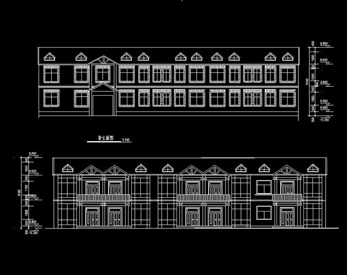 多层别墅户型建筑设计cad施工图