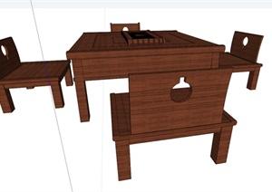全木质详细的桌凳设计SU(草图大师)模型