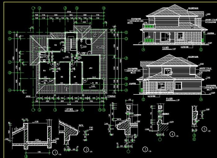 砖混结构别墅设计cad施工图